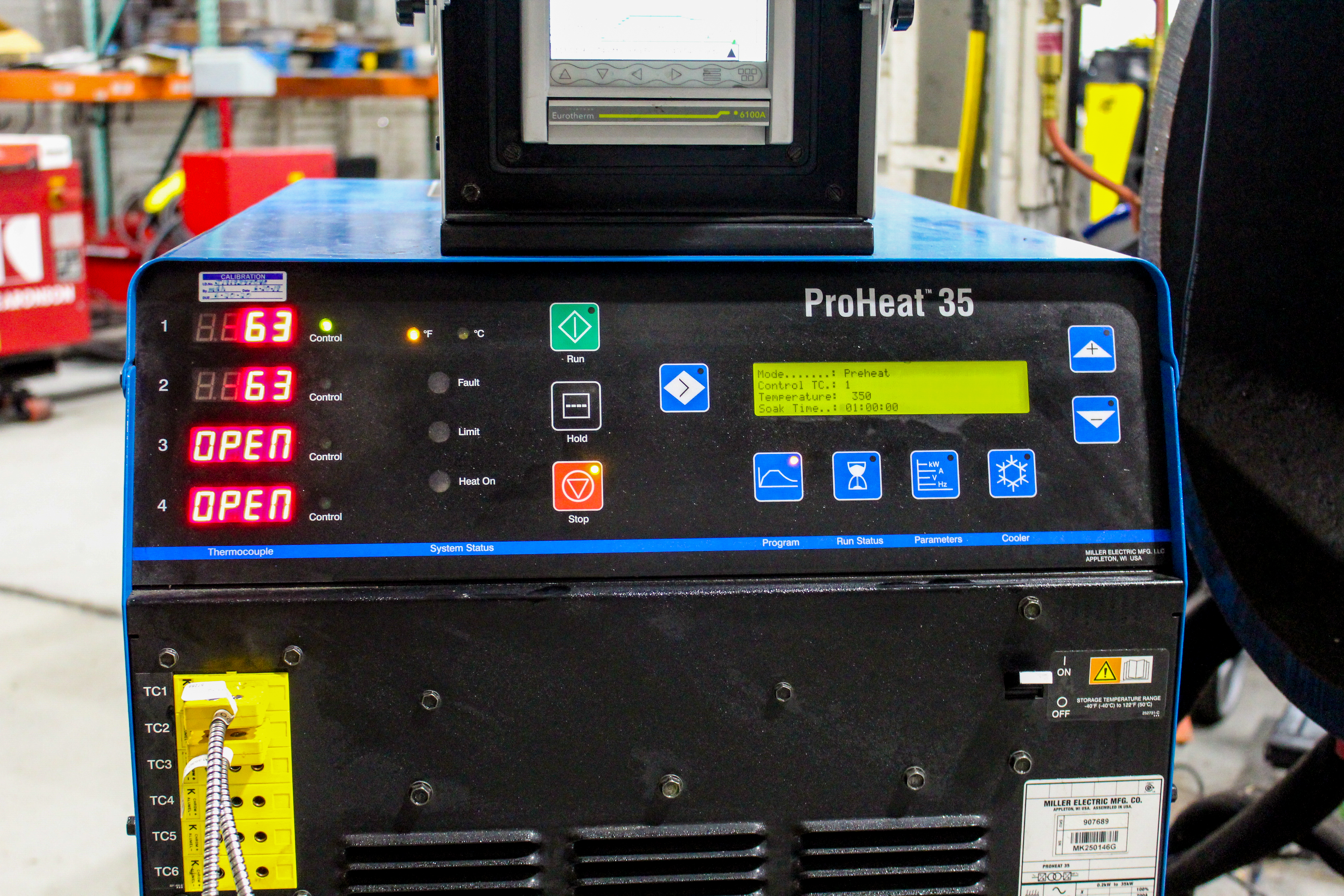 The Miller ProHeat 35 product interface
